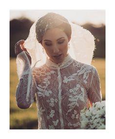Hand embroidered silk wedding veil for Jess & David, photo by Morgan Roberts.  Bespoke wedding veils and headpieces  www.hatmaker.com.au