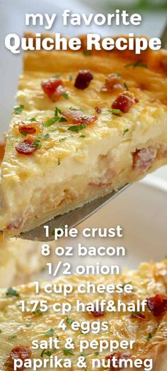 The best EASY Quiche Lorraine with a savory egg custard, bacon, and cheese filling in flaky pie crust. Quiche Lorraine is the gold standard of quiche recipes! Perfect breakfast and brunch food. food Quiche Recipe (the best quiche recipe everyone needs! Breakfast And Brunch, Perfect Breakfast, Breakfast Dishes, Easy Breakfast Quiche Recipe, Egg Dishes For Brunch, Breakfast Recipes With Eggs, Yummy Breakfast Ideas, Yummy Quiche, Delicious Breakfast Recipes