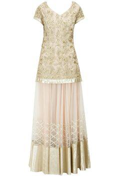 Beige sequins applique detail lehenga set available only at Pernia's Pop-Up Shop