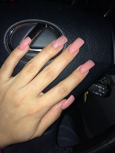 Long Pink Acrylic Nails With Accent Glitter Square