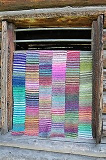 "This is a simple afghan to knit - it is all about the wonderful colours of Noro Yarns! It is perfect ""TV knitting"", as it is just straight knitting, and it is knit in strips, so it is portable."
