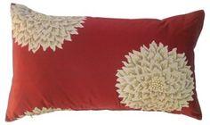 Silk Shantung Floral Pillow