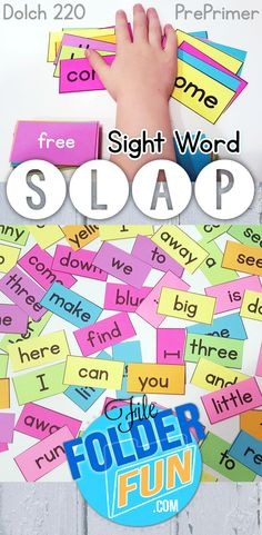 Free Sight Word Printables Sight Word Slap Game is part of children Day Worksheets - Learning about sight words can be tons of fun with this FREE Sight Word Slap game! It's perfect for practicing PrePrimer Dolch 220 words Teaching Sight Words, Sight Word Practice, Sight Word Activities, Baby Activities, Sight Word Spelling, Sight Word Centers, Sight Word Worksheets, File Folder Activities, Phonics Activities