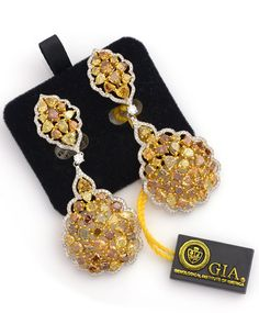 Catch the sun! 18.42 ctw Multi Color Diamond Multi-shape & 1.58 ctw White Diamond Round 18K 2 Tone Gold Dangle Earrings GIA Lab Report * Fancy Color* Item #312-12317 Gem Shopping Network