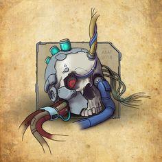 CyberSkull by Batuev.deviantart.com #art #cyberpunk #drawing #skull #wires