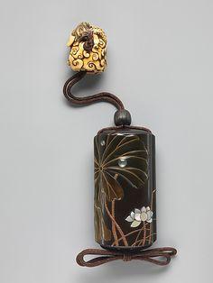 Case (Inrō) with Design of Lotus (obverse); Lotus and Bird (reverse) Shibata Zeshin  Meiji period (1868–1912) 19th century Japan