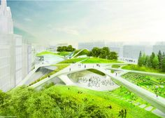 Diller Scofidio + Renfro with Keppie Design & OLIN win Aberdeen City Garden Competition #design #competition #perspective #landscape #architecture