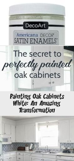 White painted oak cabinets: an incredible transformation – KTCHN – cheap kitchen cabinets Painting Oak Cabinets White, Painting Countertops, Update Kitchen Cabinets, Kitchen Redo, Using A Paint Sprayer, Kitchen On A Budget, Updated Kitchen, White Paints, Cabinet Doors