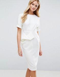 #Spring #AdoreWe #ASOS - #ASOS ASOS Textured Wiggle Dress - White - AdoreWe.com
