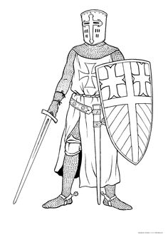 Crusader Coloring Pages to Print - Coloring For Kids 2019 Castle Coloring Page, Abc Coloring Pages, Free Adult Coloring Pages, Coloring Pages For Kids, Coloring Books, Medieval Crafts, Medieval Art, Medieval Drawings, Knight Art