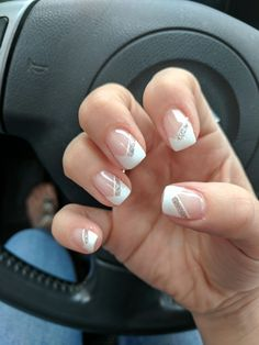 Kimmy did an excellent job with my nails for the wedding Triangle French tips wi. Kimmy did an exc French Tip Gel Nails, French Tip Nail Designs, French Acrylic Nails, Summer Acrylic Nails, Acrylic Nail Designs, Silver Tip Nails, Ombre French, French Nail Art, Bridal Nails