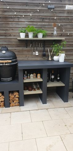 Small Outdoor Kitchens, Outdoor Kitchen Design, Outdoor Garden Rooms, Outdoor Living, Outdoor Decor, Bbq Kitchen, Kitchen Decor, Outdoor Grill Station, Bbq Cover