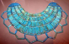 Some of the first Egyptian glass. First Intermediate Period Faience Broad Collar from Sedment 2216-2025 BC,