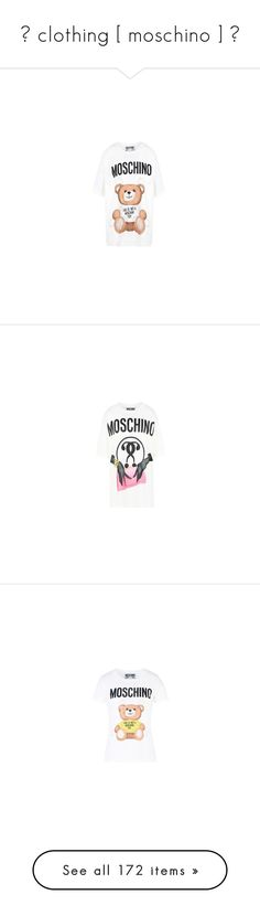 """""""✧ clothing [ moschino ] ✧"""" by miss-scarlet-wxtch ❤ liked on Polyvore featuring tops, t-shirts, long sleeve cotton tees, moschino t shirt, long sleeve cotton t shirts, cotton tees, short sleeve tee, pink tee, short sleeve tops and jersey top"""