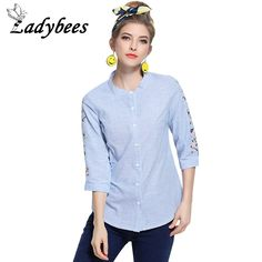 LADYBEES Plus Size 5XL Blouses Women Blue Striped Printed Floral Embroidery Shirts L - XXXXXL Large Clothing Tops Female Blusas
