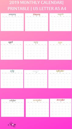 2019 Free Printable Calendar For Kids Fun Cute Colorful
