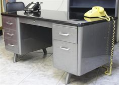 all-steel tanker desk (vintage refinished) w/black formica top