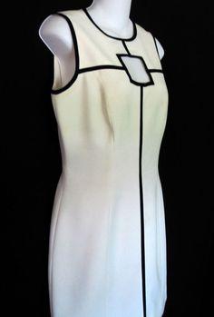 Anne Tjian for Kenar Size 6 Dress Ivory Lined Little White Dress Black Cut Outs #Kenar #Sheath #LittleBlackDress