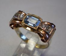 Retro Ring, French , 18K , Three Color Gold, With Aquamarine & Sapphires at rubylane.com