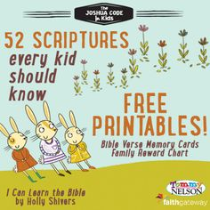 Would you like a fun way to have your kids memorize scripture? This free set of printable Memory Cards and Family Reward Chart might be what you are looking for. | The Happy Housewife
