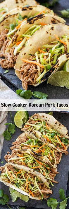 Slow Cooker Korean Pork Tacos | Pork tenderloin slow cooked in bold Korean BBQ spices makes a delicious, moist, shredded filling for tacos!