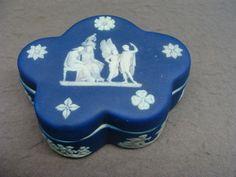 Dark Blue Wedgwood DIP Jasperware Covered Dresser Trinket Box. WEdgwood Made in England.