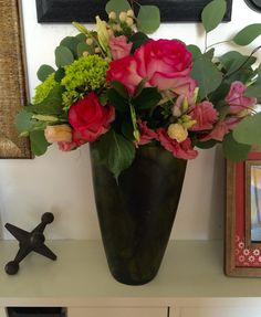 Green Hydrangea and pink roses.