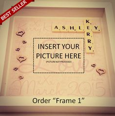 Personalise your very own scrabble frame for any event such as,  Wedding Scrabble Frame Engagement Scrabble Frame Birthdays Scrabble Frame