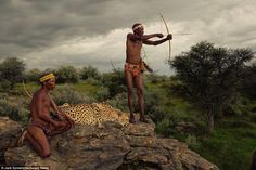 Relaxed: Both man and beast appear at one with each other as one of the hunters takes aim with a bow and arrow