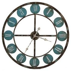 Antiqued metal wall clock with Roman numerals and an openwork border.