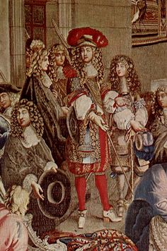 Louis XIV visits the Gobelins Manufactory, 15 October Detail from the Gobelin tapestry, after Le Brun. Note the short sleeved early Justaucorps. Louis Xiv, French History, European History, Duc D'anjou, French Royalty, French Paintings, Baroque Art, Renaissance Era, Goblin