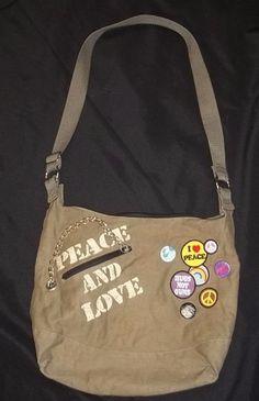 Purse Book Bag Shopping Tote Hippie Boho Peace Love Buttons Patches Nadara #Nadara #TotesShoppers