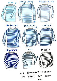 How to: Use #Stripes #tshirt #t-shirt fashion, striped tshirt, stripe shirt, shirts, color blue, color charts, closet, stripes, sailor