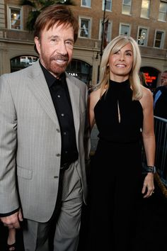 The legendary Chuck Norris and wife Gena O'Kelley begin their stroll down the black carpet at Grauman's Chinese Theater. Chuck Norris Now, Walker Texas Rangers, Bruce Lee Martial Arts, The Osmonds, Priscilla Presley, The Expendables, Famous Stars, Hollywood Walk Of Fame, Sweet Couple