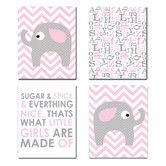 Found it at Wayfair - Pink and Gray Chevron Elephant 4 Piece Wall Plaque Set
