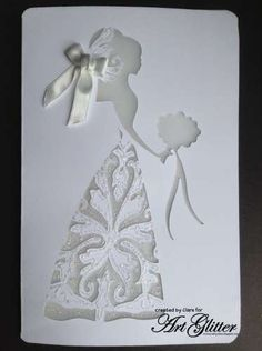 Tutorial for really beautiful white (glitter) on white cards. Why not make your own Christmas or New Year& Eve invitations this year? Cards Ideas, New Years Eve Invitations, Wedding Shower Cards, Cricut Wedding, Wedding Scrapbook, Wedding Cards Handmade, Dress Card, Engagement Cards, Wedding Anniversary Cards