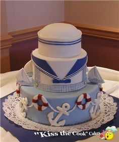 saillor cakes | Baby Shower Cakes > Little Sailor baby Shower Cake