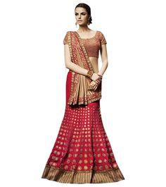 Naksh - Exclusive Bright Red Lehenga Saree
