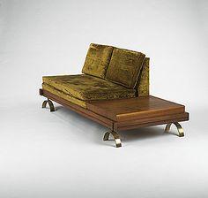 Martin Borenstein; Walnut and Brass 'Challenge' Sofa for Croyden, 1950s.