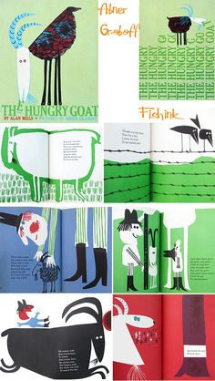 Beautifully composed book illustrations and great colour palette by Abner Graboff for The Hungry Goat