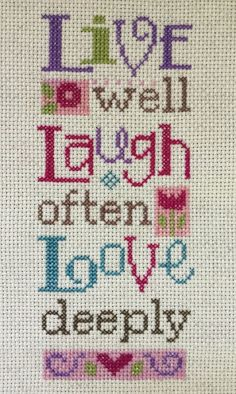 Completed Cross Stitch Lizzie Kate Live Well Laugh Often Love Deeply | eBay