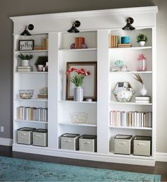 Ikea Billy Bookcase Library Hack - diy shelves, b Baby Bookshelf, Ikea Billy Bookcase Hack, Wall Bookshelves, Billy Ikea Hack, Library Wall, Library Shelves, Custom Shelving, Clutter Free Home, Small Space Storage