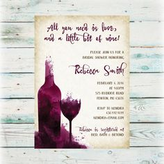 Wine Tasting Theme Bridal Shower Invitations Modern Watercolor