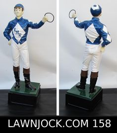 The traditional lawn jockey statue is taking back America's boring suburban neighborhoods one yard at a time. Your lawn is next! Want an REAL METAL jock professionally painted using 2 coats of high gloss enamel like this one shipped directly to your mansion in about 3 weeks? Visit lawnjock.com for a price quote today and reference custom example #158.