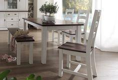 Dieses klassische Esszimmermöbel im Landhausstil ist ein echter Blickfang in Ihrem Wohnraum! Gefertigt aus FSC®-zertifizierter, massiver Pinie, weiß gebürstet/dunkelbraun.  Der Esstisch überzeugt durch zeitloses Design in toller Holzoptik mit fühlbarer Struktur. Außenmaße (B/T/H): 180/90/78,3 cm  Details: Rechteckige Tischplatte, 3,2 cm starke Tischplatte, Pflegeleichte Oberfläche, Im Landhaus-...