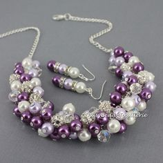 Pearl Cluster Necklace, Plum and Lavender Necklace, Bridesmaid Necklace, Purple Cluster Necklace, Chunky Necklace, Purple Necklace, Wedding by DaisyBeadzJoaillerie on Etsy https://www.etsy.com/ca/listing/186707740/pearl-cluster-necklace-plum-and-lavender