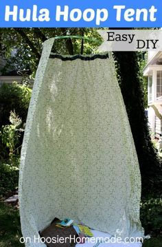Easy DIY Hula Hoop Tent - Hoosier Homemade This fun tent is a great place for kids to play and read, indoors or out, and you can make it with a spare sheet and Hula Hoop! Diy Kids Teepee, Diy Tent, Hula Hoop Tent, Diy For Kids, Cool Kids, Outdoor Fun, Outdoor Camping, Outdoor Ideas, Outdoor Decor