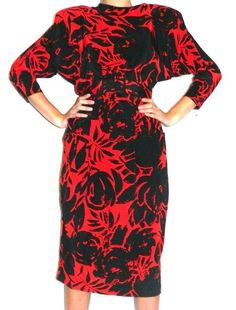 Vintage Neiman Marcus SILKS by St. Gillian red & black dress