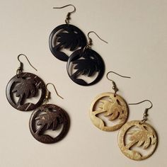 Coconut palm tree earrings - more colours