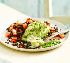 Pesto-crusted cod with Puy lentils: very quick, especially if you use ready-made pesto